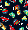 Cute little vehicles in a seamless pattern vector image