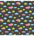 Cute rainy clouds seamless pattern vector image