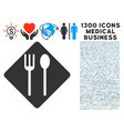 fork and spoon icon with 1300 medical business vector image