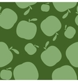 Seamless geen pattern background with apples vector image