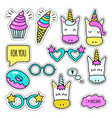 set of colored unicorn stickers isolated on white vector image