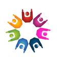 Teamwork hands up logo vector image vector image
