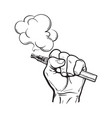 male hand holding e-cigarette electronic vector image vector image