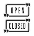 signboard in the door are open and closed vector image