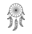 Dream catcher with feathers in zentangle style vector image
