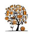 Basketball tree concept sketch for your design vector image vector image