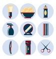 barbershop flat icon set vector image
