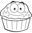 Cartoon smiling cupcake vector image