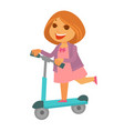 cheerful redhead girl in pink dress rides kick vector image
