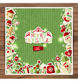Christmas on red knitting texture vector image