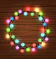 christmas round garland on wood background vector image