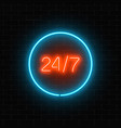 neon open 24 hours in circle frame sign on a vector image