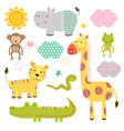 set of isolated baby jungle animals part 2 vector image