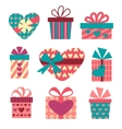 Gift boxes set for Valentines Day vector image