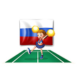 The cheerleader and the Russian flag vector image vector image