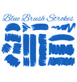 set of blue brush strokes vector image