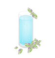 A Glass of Blue Drink with Ice Cubes vector image