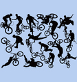 bmxer silhouettes vector image