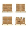 Set of closed brown carton delivery boxes vector image