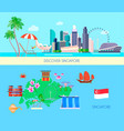 colored singapore culture banner set vector image
