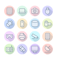 icons line round technology thin vector image