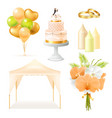 realistic wedding elements set vector image