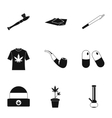 Cannabis icons set simple style vector image vector image
