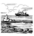 the icebreaker sails on the horizon vector image vector image