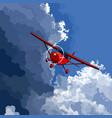 cartoon red little plane flies on the border vector image