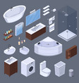 bathroom elements isometric collection vector image