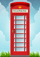 English Red Telephone Cabin vector image