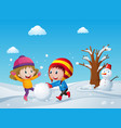 children playing on the snow field vector image