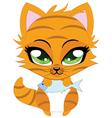Cute little red kitten vector image