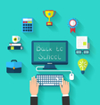 Flat Icons and Objects for High Schoo vector image