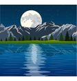 Full moon and group of trees reflected vector image