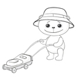 Teddy bear lawnmower contours vector image