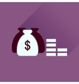 Flat icon with long shadow money bag vector image