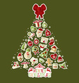 Christmas of tree with stickers vector image