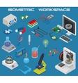 Isometric science electronics chemistry equipment vector image