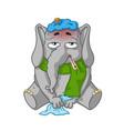 elephant character sick cartoon vector image
