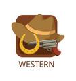 western cinema genre symbol for cinema or channel vector image