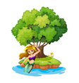 A mermaid in an island vector image vector image