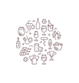 Wine logo with outline icons vector image