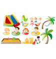 children swimming and beach toys vector image