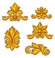 Set of baroque ornamental antique gold scrolls and vector image