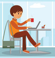 young man at work of student vector image