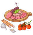 sausages on white background vector image