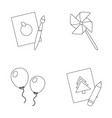 pictures a windmill balloons tigers set vector image