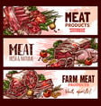 meat product banners for butchery shop vector image