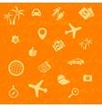 travel background orange Seamless pattern vector image